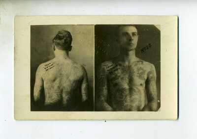 RPPC – TATTOED PORTRAITS – ADVERTISING FOR WATERS TATTOO SUPPLIES DETROIT
