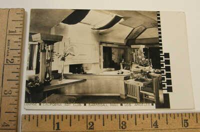 c1930 RPPC FRANK LLOYD WRIGHT HOLLYHOCK HOUSE INTERIOR LOS ANGELES CA ART CLUB