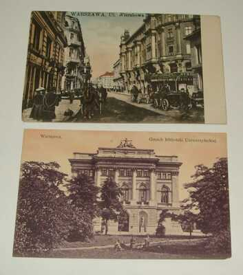 1910s Poland Warsaw Photo Postcard x2