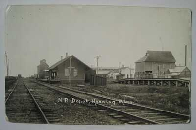 Henning MN NP Train Station Depot Old 1910s Railroad RPPC Postcard; by Ottertail