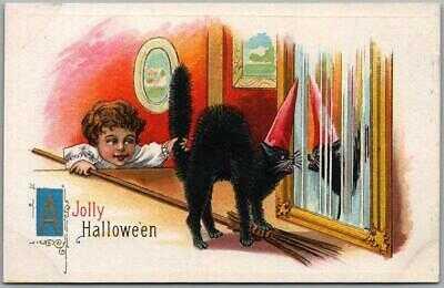 Vintage JOLLY HALLOWEEN Embossed Postcard Girl Pulling Black Cat's Tail BS S-619