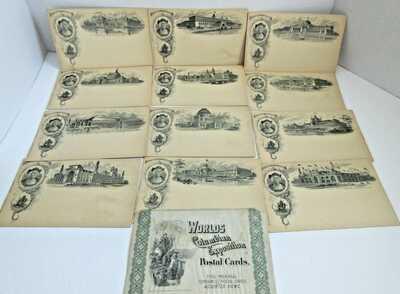1893 World's Fair Columbian Exposition Chicago Worlds Fair Postcard Set Lot 12
