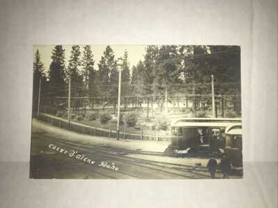 Vintage RPPC 1926 COEUR d'ALENE, Idaho Trolley Train Postcard S2