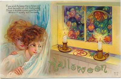 Great Halloween - Ladies Use Spell to Keep Witch & Goblins Outside House