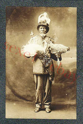 BLACK MAN w PRIZE CHICKENS - ROME GA SLAVE - circa 1930 rppc Photo GRADE 5