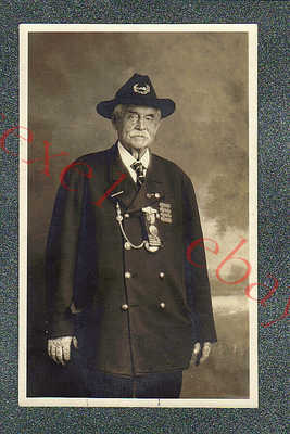 A+ FLORIDA CIVIL WAR VETERAN IN STUDIO + MESSAGE - circa 1930 rppc Photo GRADE 5