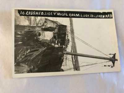 Original R.P.P.C. S.S. Florizel Shipwreck #10 Music Room Newfoundland Postcard