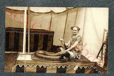 A+ CIRCUS SNAKE CHARMER GIRL + DOZEN FRIENDS - 2 circa 1910 rppc Photos GRADE 5