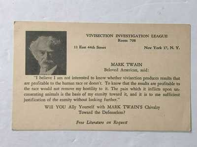 Early 1900s Vivisection Investigation League Postcard Mark Twain Animal Cruelty