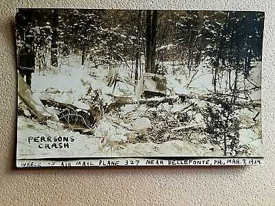 ORIG. 1924 RP PC AIR MAIL AIRCRAFT #327 CRASH NEAR BELLEFONTE PA