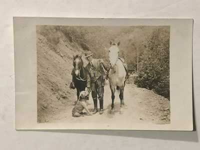 1911 RPPC Santa Barbara California Cal. Man w/ Horses & Dog Photo Posted PC