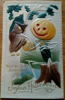 *SCARCE* 1913 AIR BRUSHED VALENTINE FANTASY EMBOSSED HALLOWEEN OWL,JOL MAN, MOON