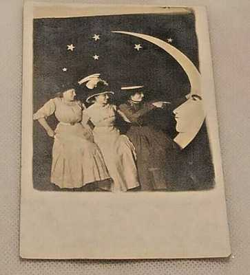 Vtg. 1900s 3 Ladies Sitting On,Pointing Finger At Paper Moon Studio Prop RPPC