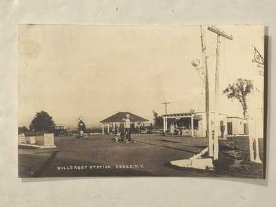 1918 RPPC Essex NY Hillcrest Gas Station Lunch Stand Posted Glens Falls Photo