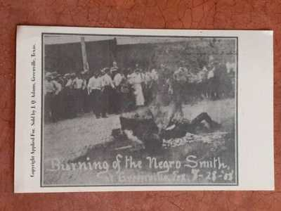 Vtg 1908 Burning of the Negro Smith Greenville Texas Postcard Lynching for Rape
