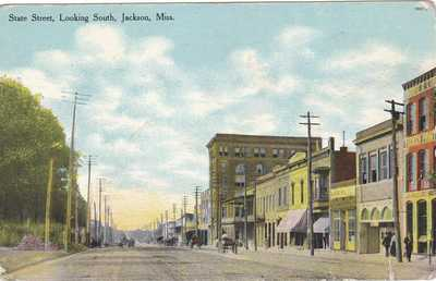 OLD VINTAGE POSTCARD STATE STREET LOOKING SOUTH JACKSON MS