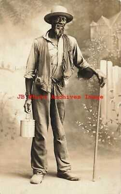 Black Americana, RPPC, Studio Shot, Man With Hat Holding Bucket & Walking Stick