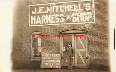 IL, Champaign, Illinois, RPPC, Mitchell Harness Shop, RM Fraley Carriage Painter