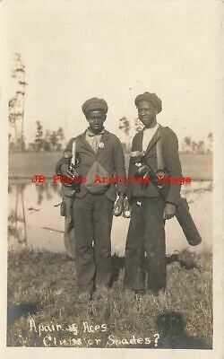 Black Americana, RPPC, Caddies with Golf Clubs, Pinehurst NC, EL Merrow Photo