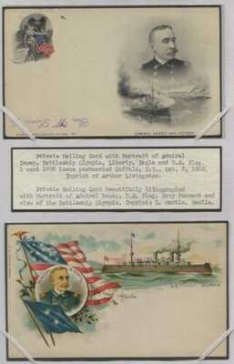 2 Patriotic Private Mailing Cards Admiral Dewey USS Olympia Eagle/Flag
