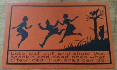 HALLOWEEN POSTCARD, PUBLISHED BY WHITNEY, SILHOUETTE ON ORANGE BACKGROUND.