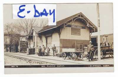1900's OLSON RPPC ELMWOOD NE MISSOURI PACIFIC DEPOT VINTAGE POSTCARD NEBRASKA !!