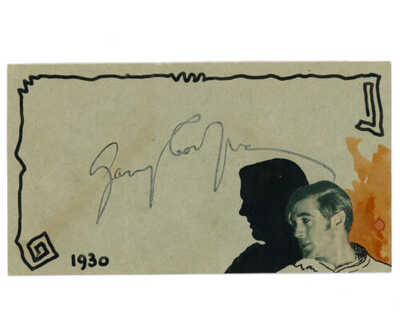GARY COOPER SIGNED VINTAGE 1930 BREHM HAND PAINTED ART POSTCARD AUTOGRAPHED