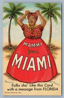 MAMMY FROM MIAMI VINTAGE RARE POSTCARD
