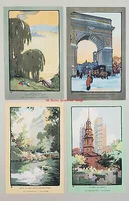 12 Postcards Set, Rachael Robinson Elmer, Volland Views, Art Lovers' New York