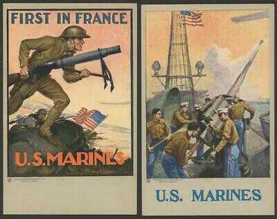 """1917 TEN PATRIOTIC COLOR """"U.S. MARINES"""" POSTCARDS - ARTIST ACTION SCENES"""