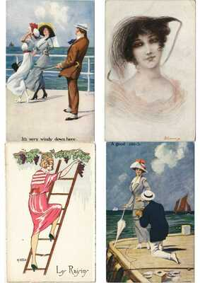 ARTIST SIGNED GLAMOUR LADIES with BETTER 270 Vintage Postcards Pre-1940 (L3163)