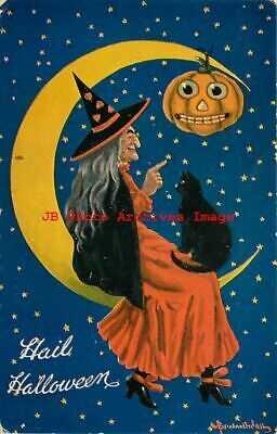 Halloween, Valentine No VAL02-5, Bernhardt Wall, Witch & Black Cat Sit on Moon