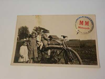 1906 - 1913 Marsh Metz motorcycle rppc real photo postcard & advertising button