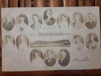1907 HUTCHINSON KANSAS SALT PACKERS Baseball Team RPPC by Hirst Smokey Joe Wood