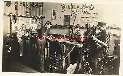 NE, Wilbur, Nebraska, RPPC, Ziegler & Havel's Shoe Repairing Department Interior