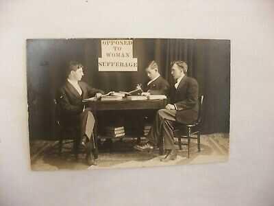 Real Photo Postcard RPPC Anti-suffragism  woman's Suffrage Movement Grafton WI