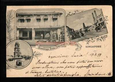 SINGAPORE GREETINGS FROM TRIESTE HOTEL MULTIVIEW PC 1899 Victoria HK Cds - S326
