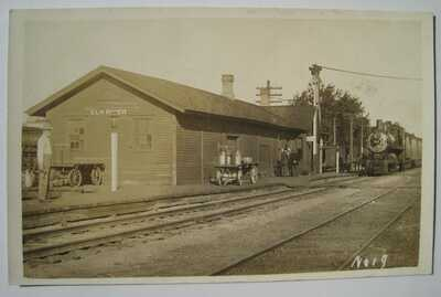 Elk River MN Train Station Depot Old 1910-1920s Railroad RPPC Postcard