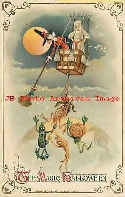 Halloween, Winsch 1914 No 3938-1, Schmucker, Witch in Balloon & Vegetable People