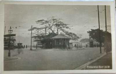 Hong Kong Real Photo Postcard Causeway Bay Tram Terminus Truck 1920s