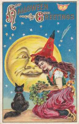VINTAGE HALLOWEEN POSTCARD SIGNED WITCH RED HAT SITS FRONT FULL MOON BLACK CAT