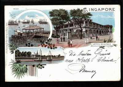 SINGAPORE GRUSS AUS MULTIVIEW CHROMOLITHO PC 1898 Singapore Cds to Wien - S366