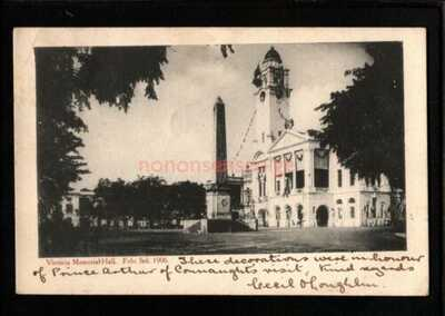 SINGAPORE VICTORIA MEMORIAL HALL DECORATED POSTCARD 1906 Cds to Anvers - S352