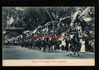 SINGAPORE DUKE OF CONNAUGHT'S VISIT MOUNTED SIKH SOLDIERS POSTCARD 1906 - S356
