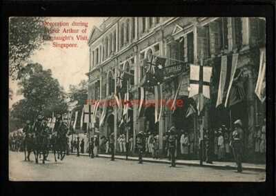 SINGAPORE DUKE OF CONNAUGHT'S VISIT DECORATIONS PC 1906 Cds to Preston - S357