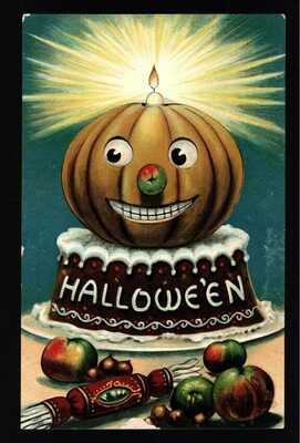Halloween Carved Smiling Pumpkin Candle Cake 1910 PPC