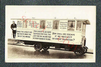 CALIFORNIA EVANGELIST'S ADVERTISING BUS / TRUCK - circa 1920 rppc Photo GRADE 5