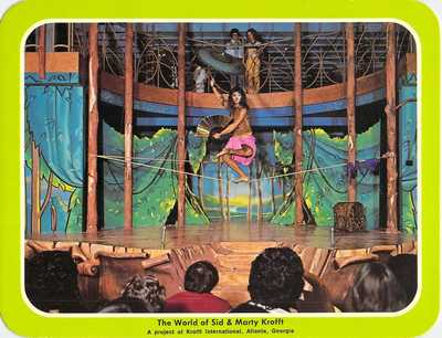 postcard 5.25x6.75 World of Sid & Marty Krofft INDIAN TIGHT ROPE Atlanta GA