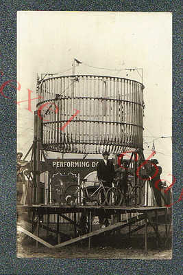 CIRCUS SIDESHOW BICYCLE DAREDEVIL CAGE - circa 1913 rppc Photo GRADE 4