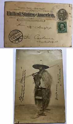 USA Region Philippines Picture Postal Stationery Card to Germany 1898 Native Man